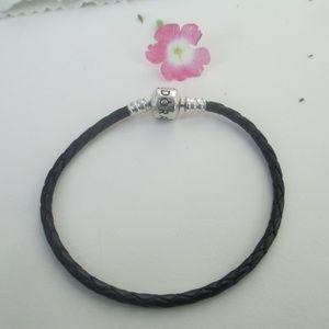 "Pandora leather bracelet sterling silver ALE 7.5"""
